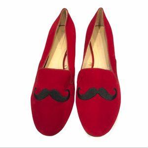 Zara Trafaluc Velvet Loafers Red Moustache 8.5
